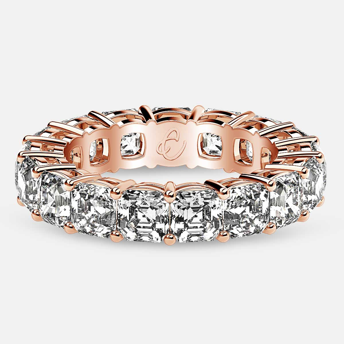 Eternity Ring with Prong Set Asscher Cut Diamonds in 18k Rose Gold
