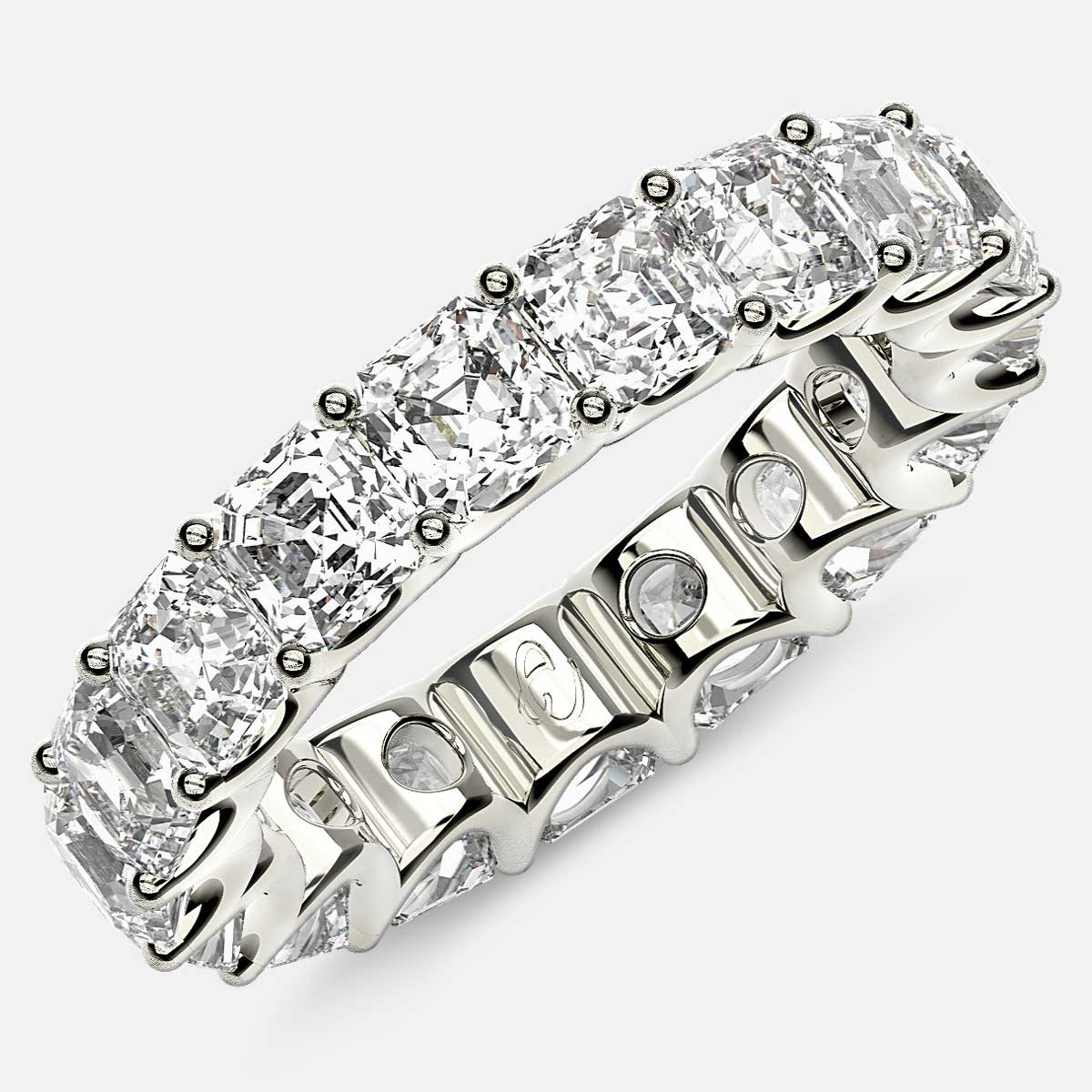 Eternity Ring with Arch Prong Set Asscher Diamonds in Platinum