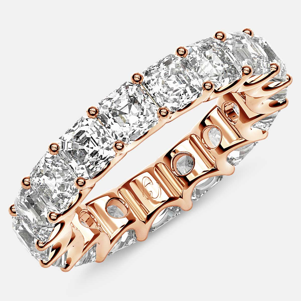 Eternity Ring with Arch Prong Set Asscher Diamonds in 18k Rose Gold