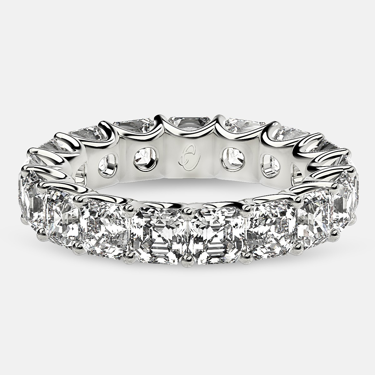 Eternity Ring with Arch Prong Set Asscher Diamonds in 18k White Gold