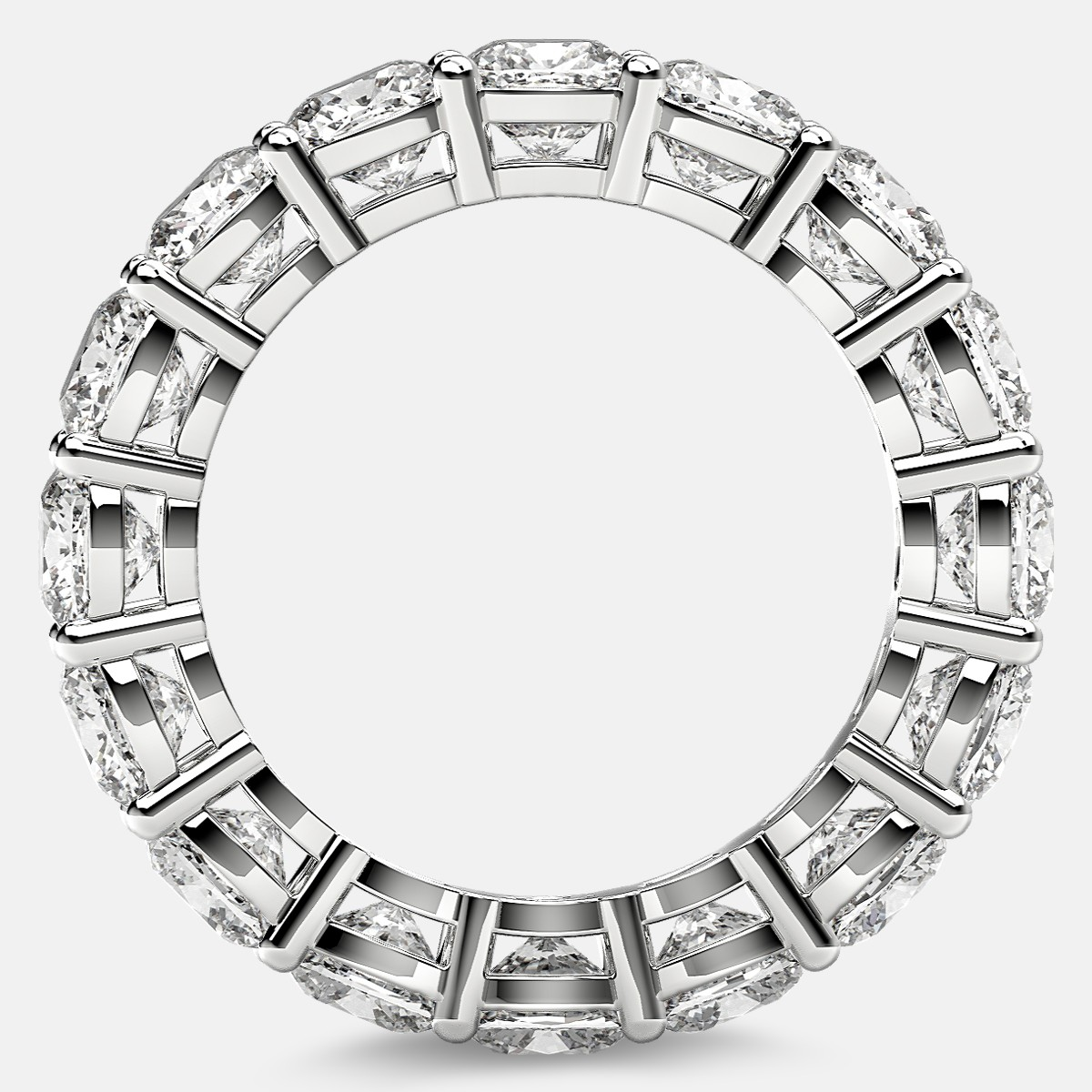 Open Gallery Eternity Ring with Cushion Cut Diamonds in Platinum