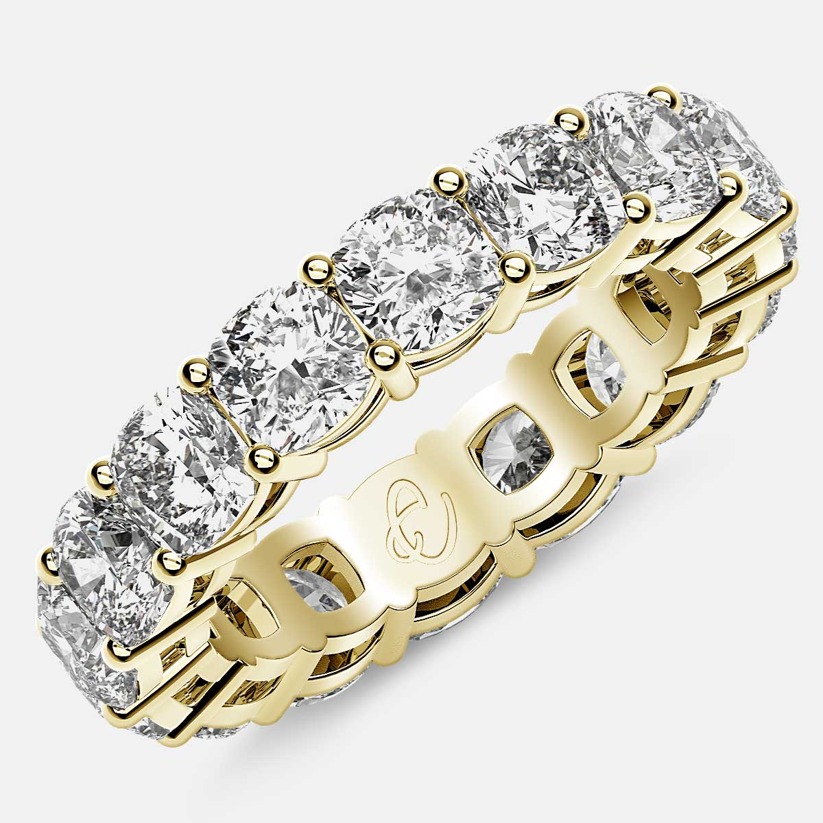 Open Gallery Eternity Ring with Cushion Cut Diamonds in 18k Yellow Gold