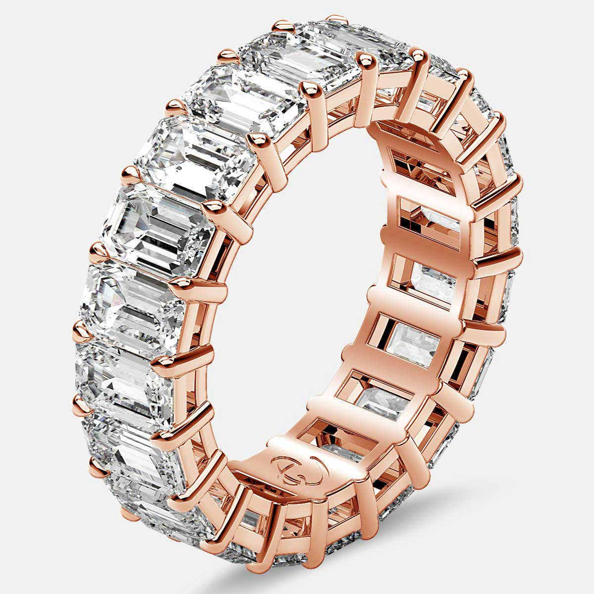 Eternity Ring with Prong Set Emerald Cut Diamonds in 18k Rose Gold