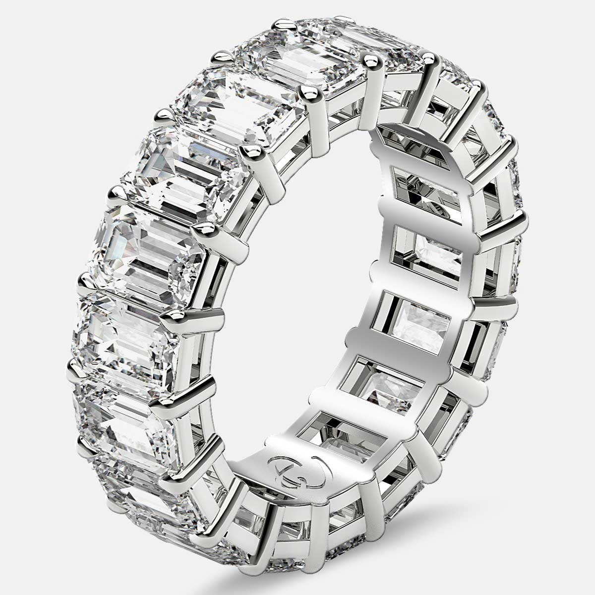 Eternity Ring with Prong Set Emerald Cut Diamonds in 18k White Gold