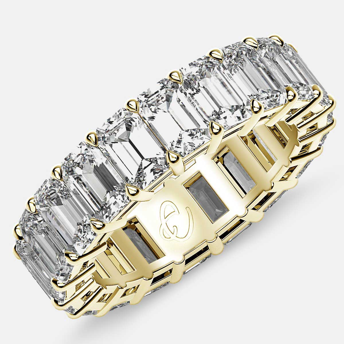 Eternity Ring with Prong Set Emerald Cut Diamonds in 18k Yellow Gold