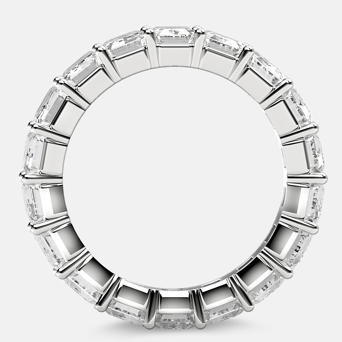 Classic Eternity Ring with Emerald Cut Diamonds in Platinum