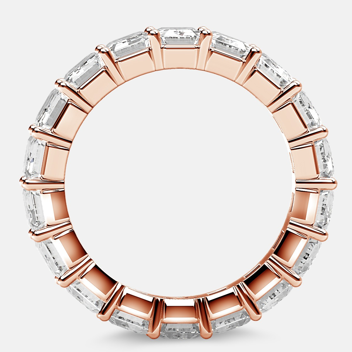 Classic Eternity Ring with Emerald Cut Diamonds in 18k Rose Gold