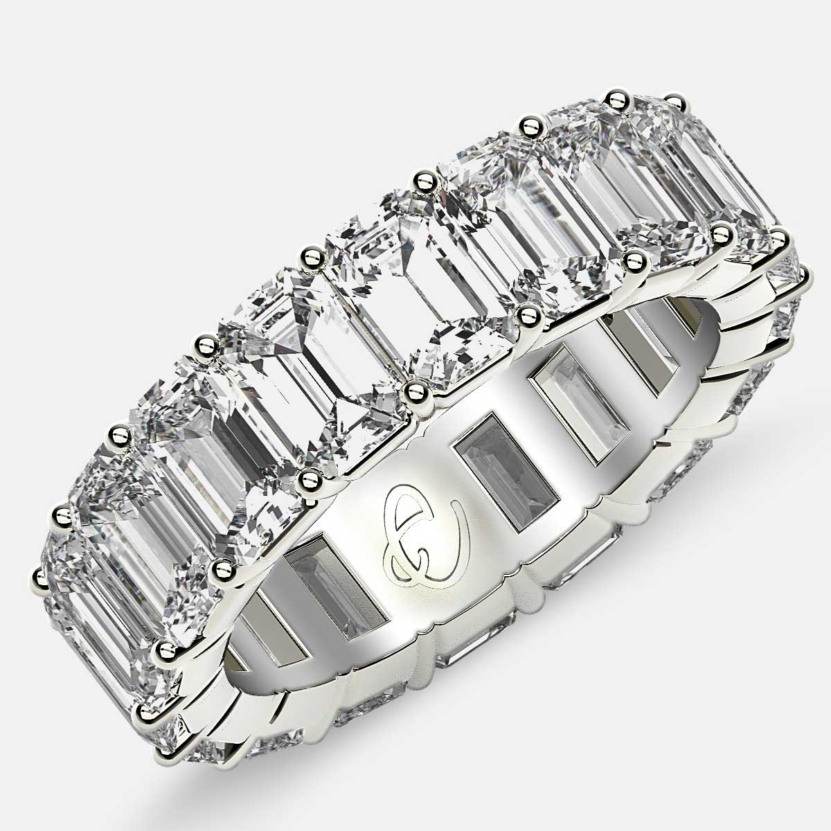 Classic Eternity Ring with Emerald Cut Diamonds in 18k White Gold