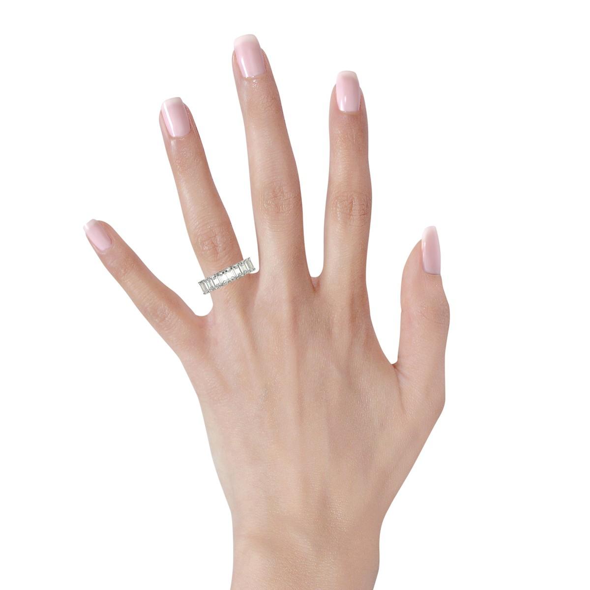 Classic Eternity Ring with Emerald Cut Diamonds in Platinum