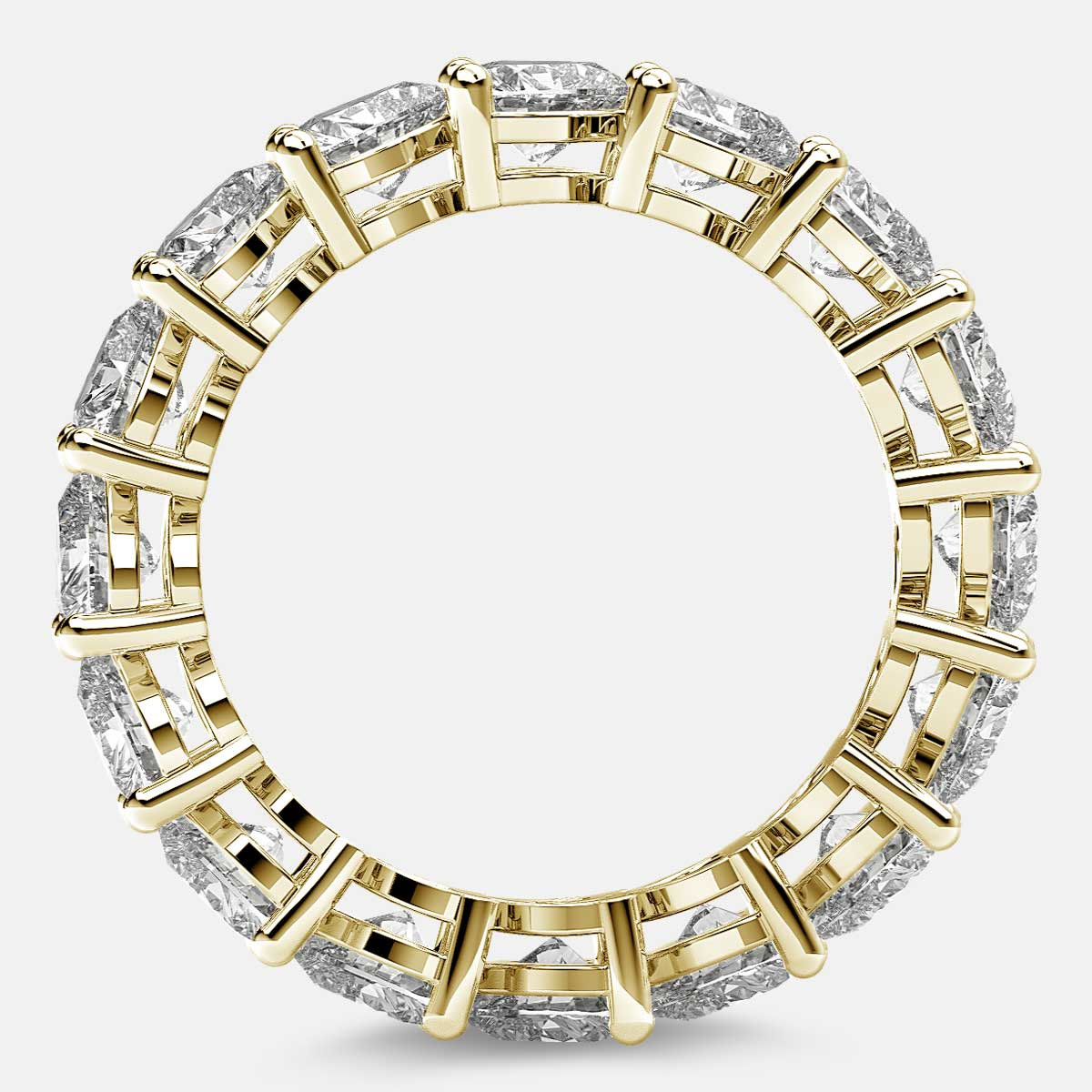 Eternity Ring with Prong Set Heart Shaped Diamonds in 18k Yellow Gold