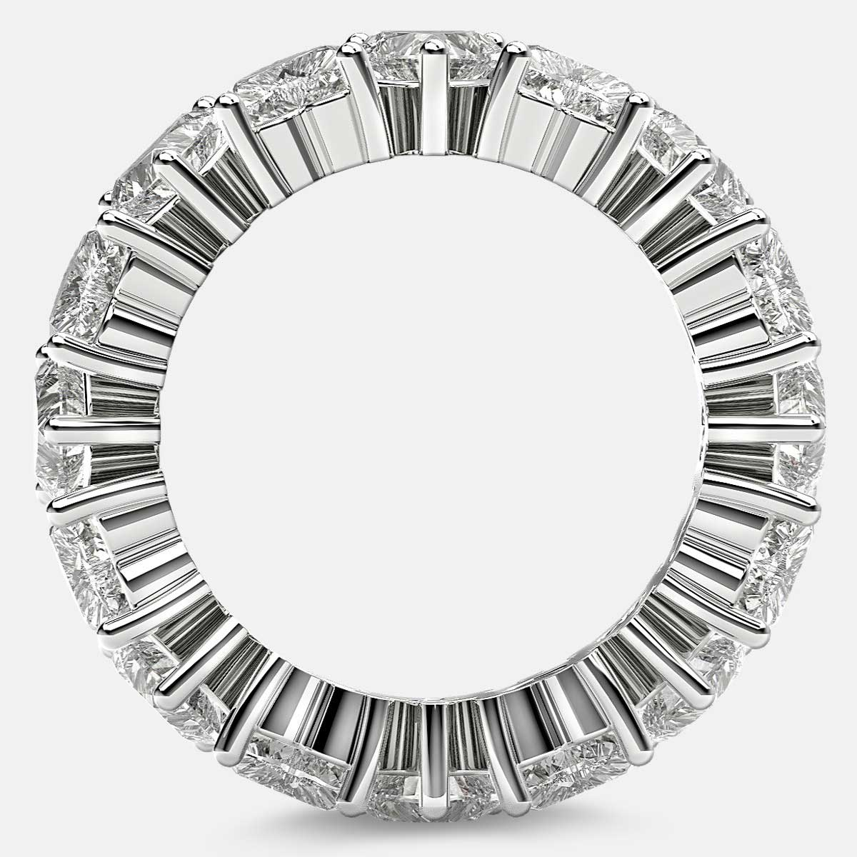 Prong Set Eternity Ring with Heart Shaped Diamonds in 18k White Gold