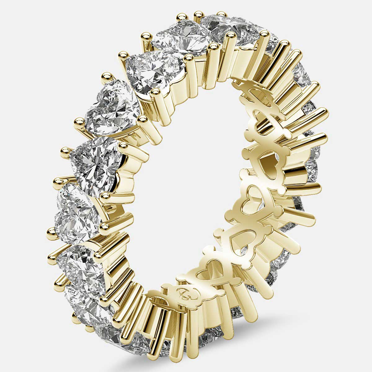 Prong Set Eternity Ring with Heart Shaped Diamonds in 18k Yellow Gold