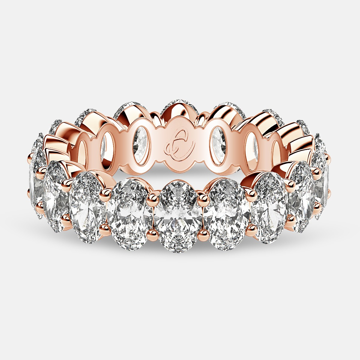 Prong Set Eternity Ring with Oval Diamonds in 18k Rose Gold