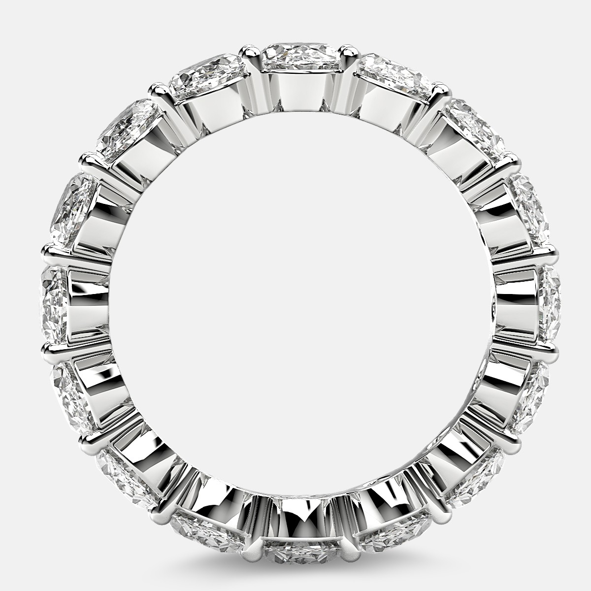 Prong Set Eternity Ring with Oval Diamonds in 18k White Gold