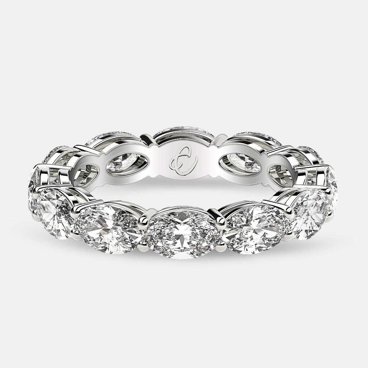 Open Gallery Eternity Ring with Oval Diamonds in Platinum