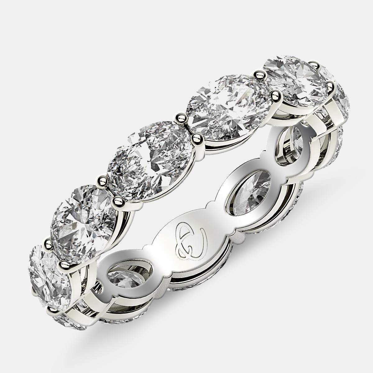 Open Gallery Eternity Ring with Oval Diamonds in 18k White Gold