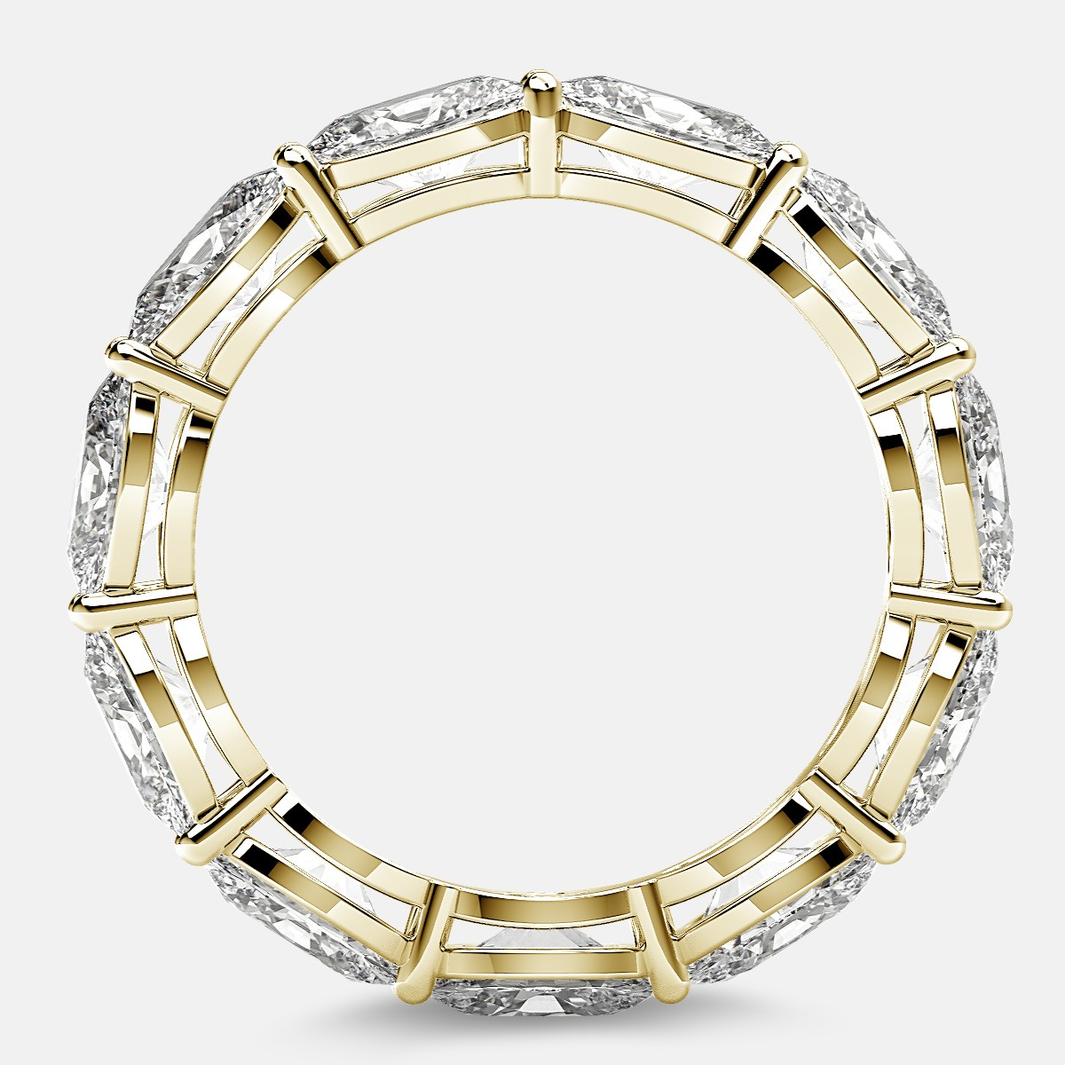 Open Gallery Eternity Ring with Oval Diamonds in 18k Yellow Gold