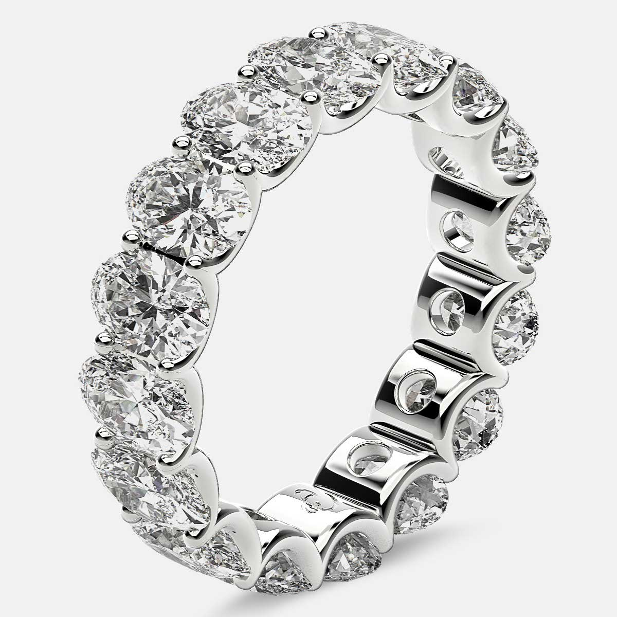 Curved Prong Eternity Ring with Oval Diamonds in 18k White Gold