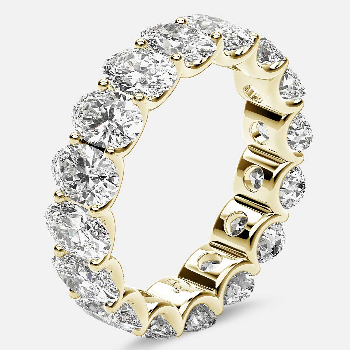 Curved Prong Eternity Ring with Oval Diamonds in 18k Yellow Gold