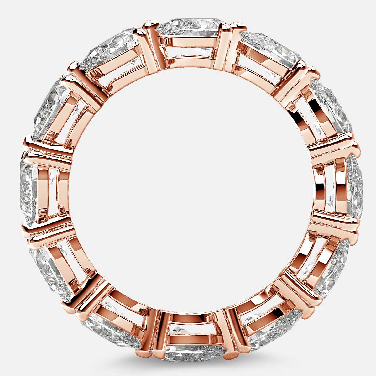 Classic Eternity Ring with Pear Shaped Diamonds in 18k Rose Gold