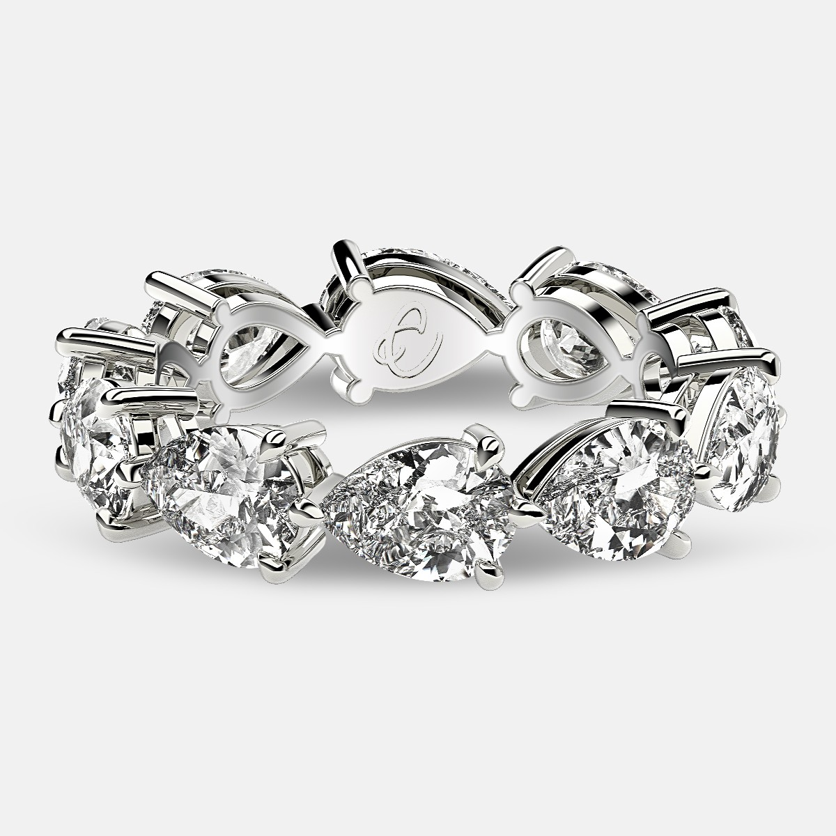 Classic Eternity Ring with Pear Shaped Diamonds in 18k White Gold