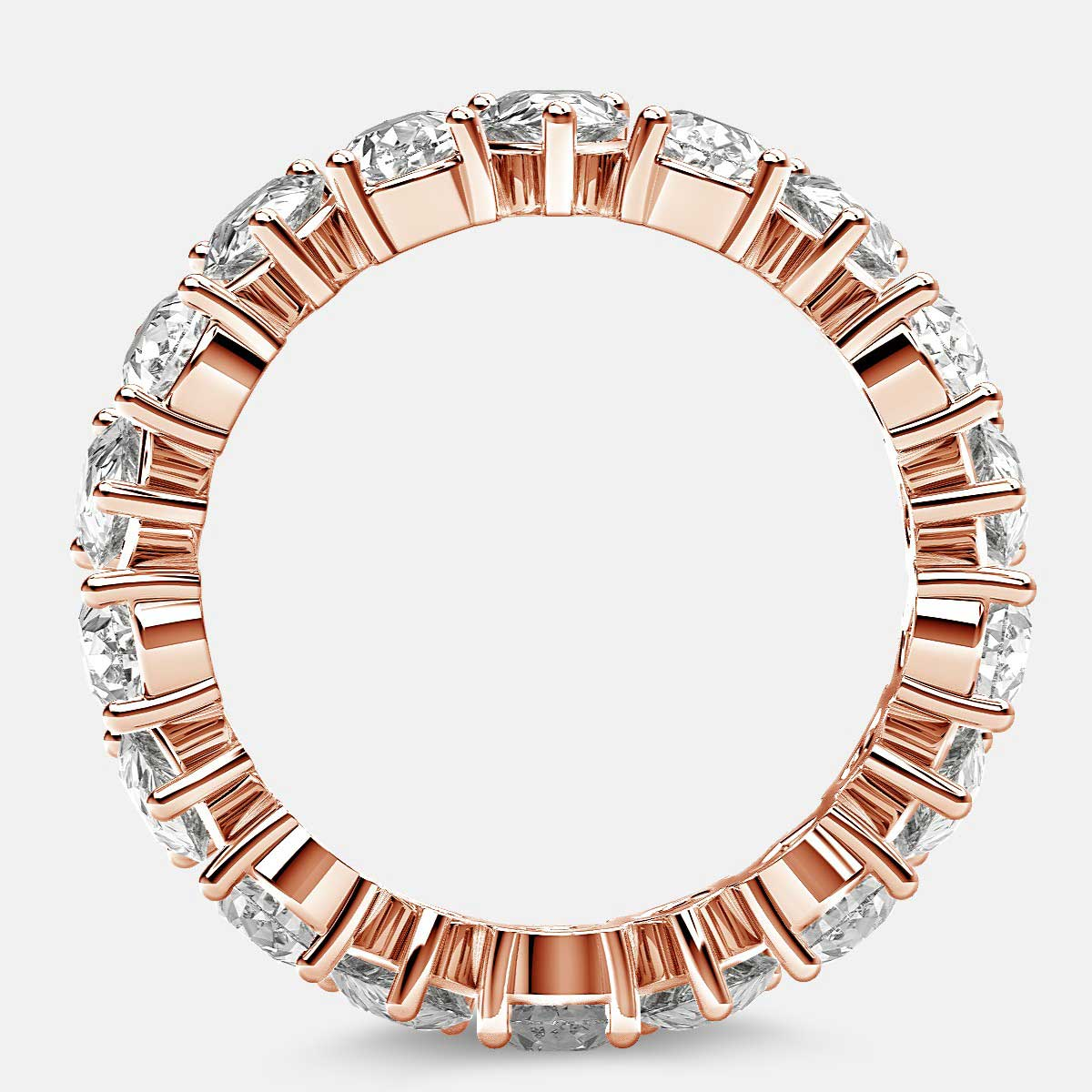 Prong Set Eternity Ring with Pear Shaped Diamonds in 18k Rose Gold