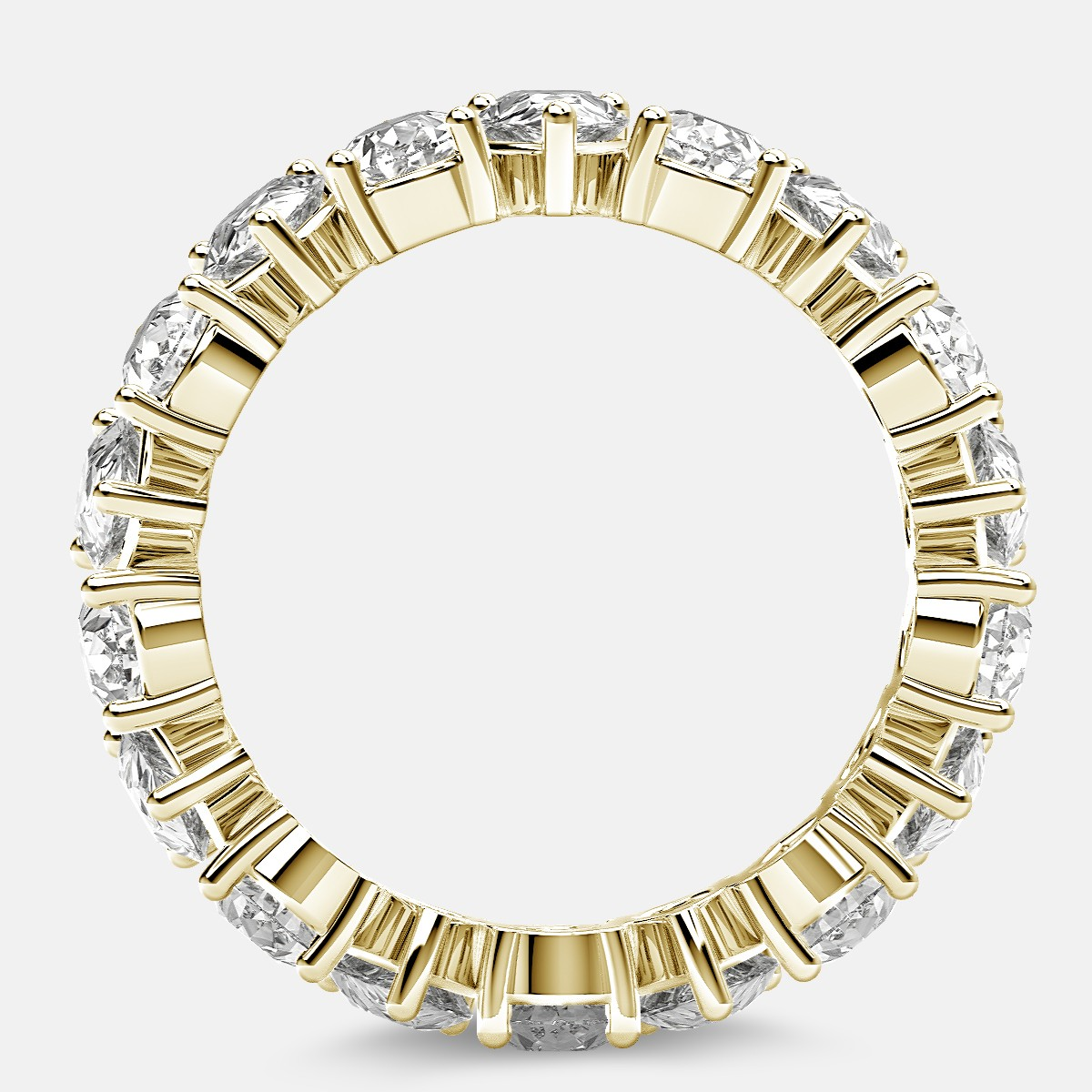 Prong Set Eternity Ring with Pear Shaped Diamonds in 18k Yellow Gold