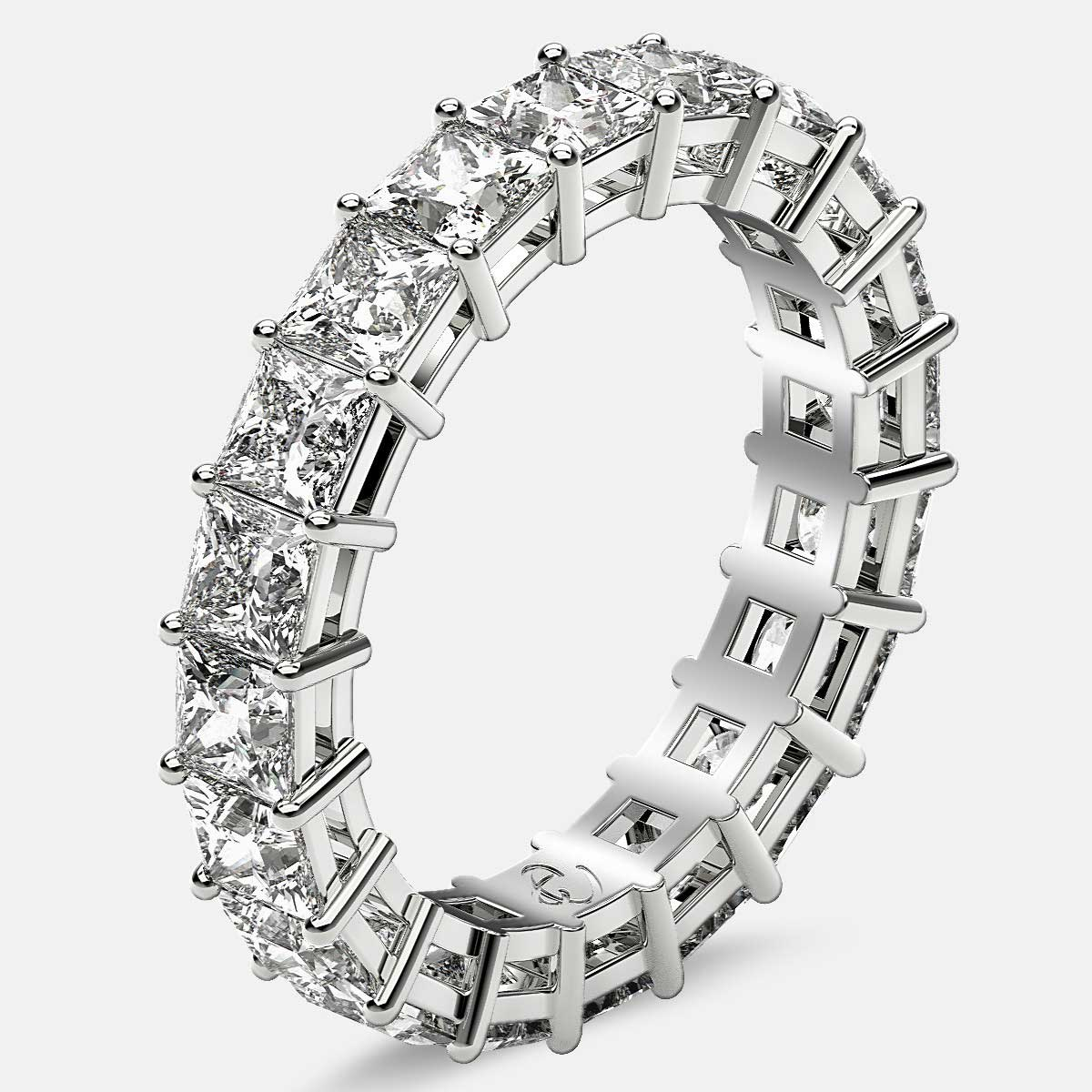 Eternity Ring with Prong Set Princess Cut Diamonds in 18k White Gold