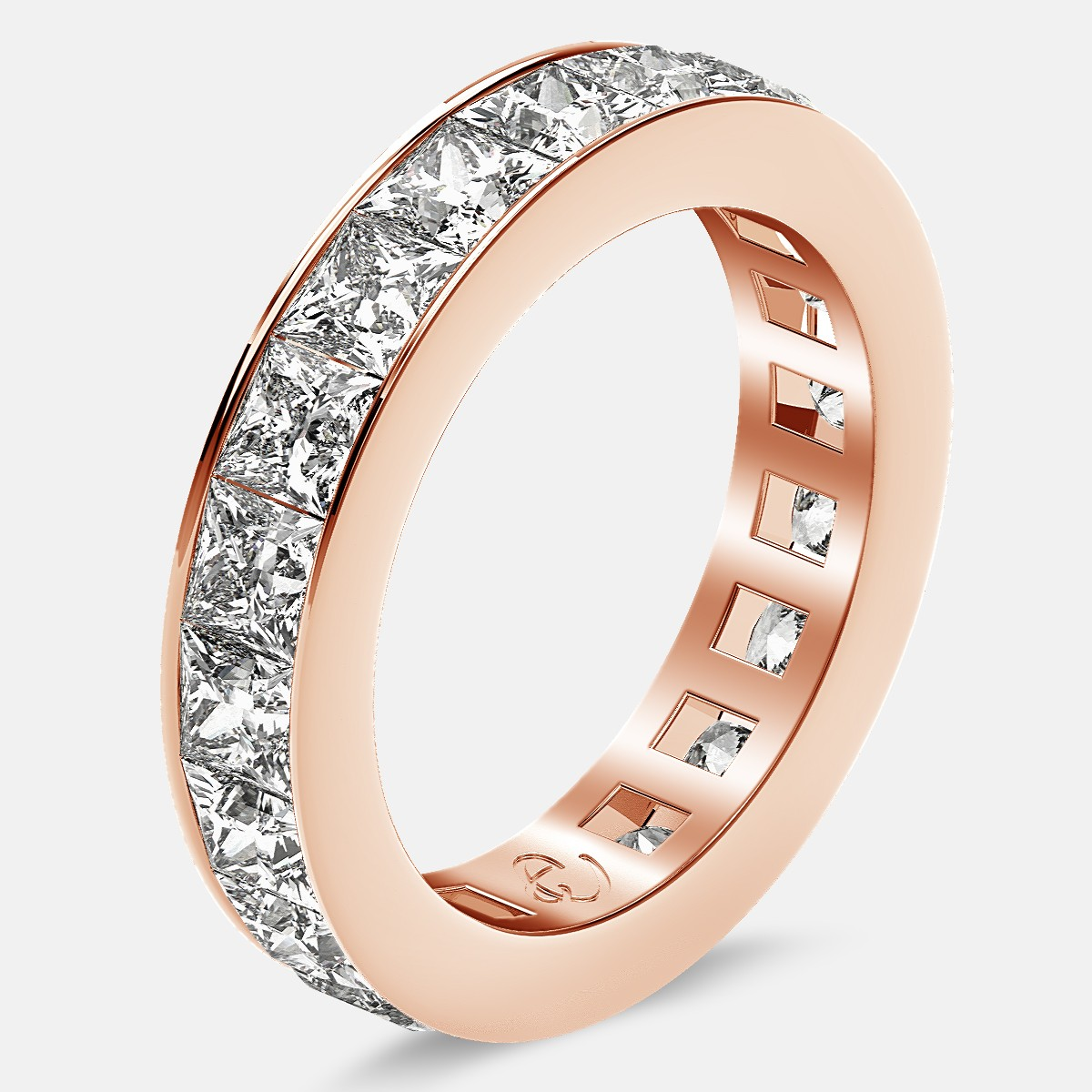 Eternity Ring with Channel Set Princess Cut Diamonds in 18k Rose Gold