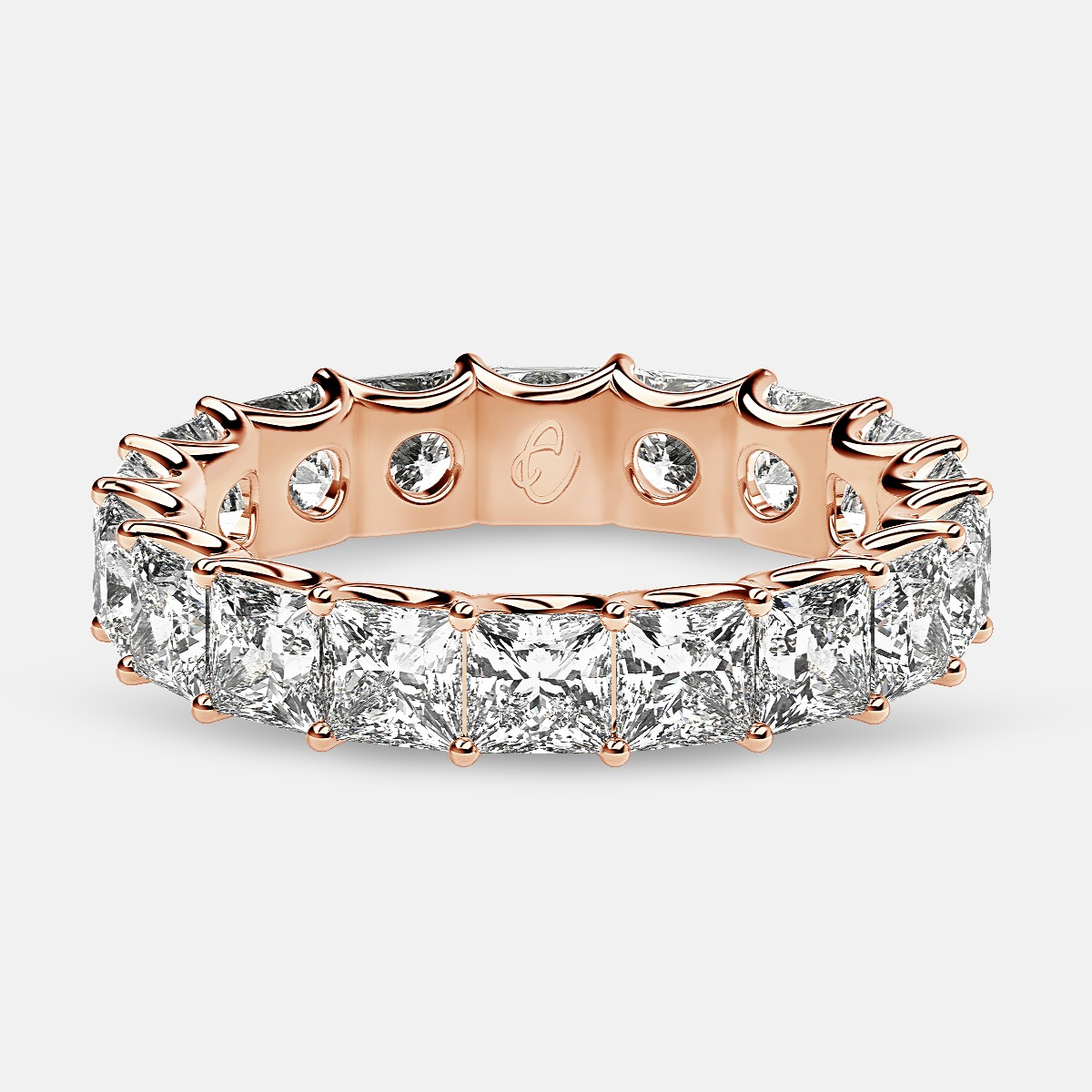 Eternity Ring with Arch Prong Set Princess Diamonds in 18k Rose Gold