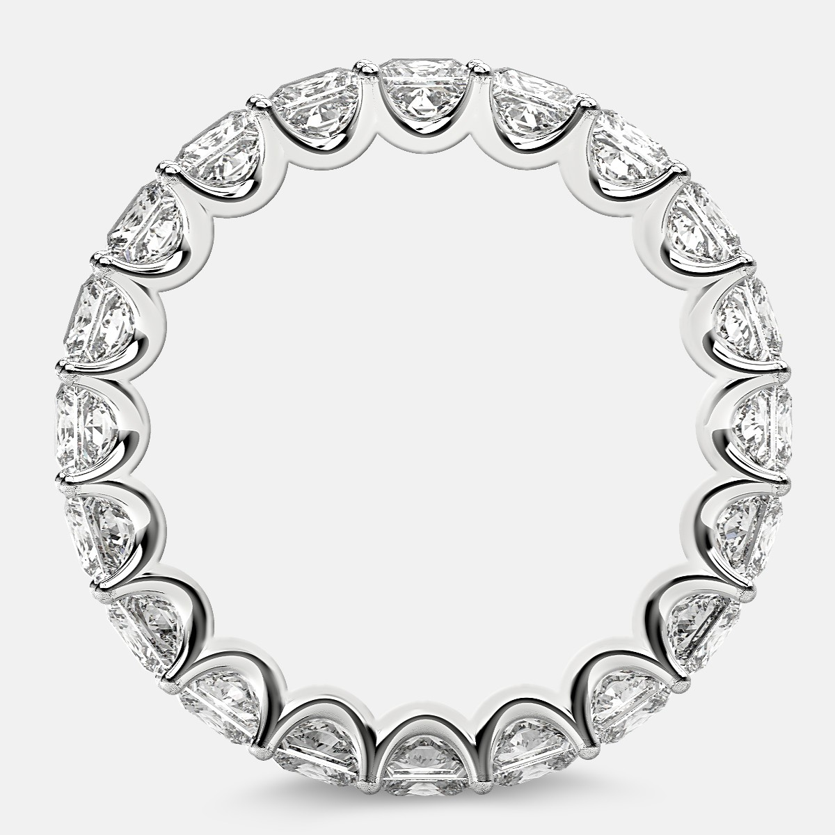 Eternity Ring with Arch Prong Set Princess Diamonds in 18k White Gold