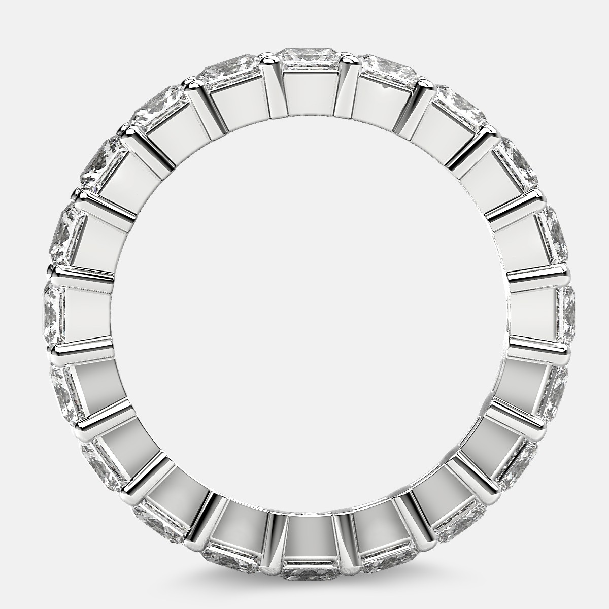 Classic Eternity Ring with Princess Cut Diamonds in Platinum