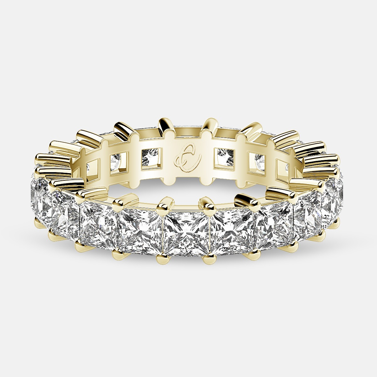 Classic Eternity Ring with Princess Cut Diamonds in 18k Yellow Gold