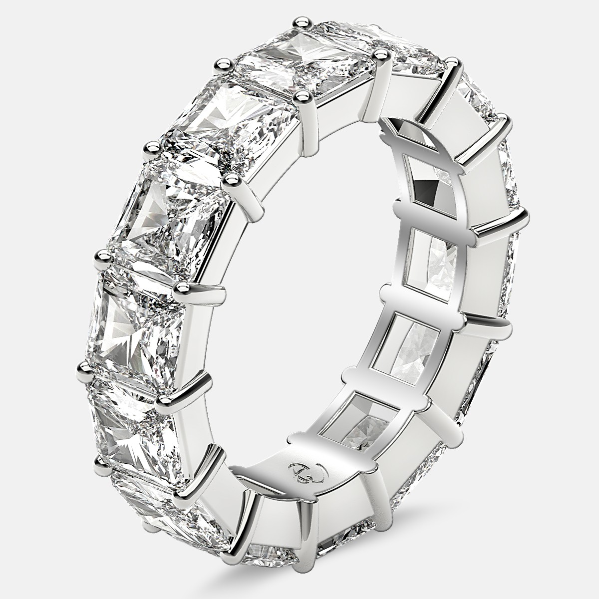 Eternity Ring with Prong Set Radiant Cut Diamonds in Platinum