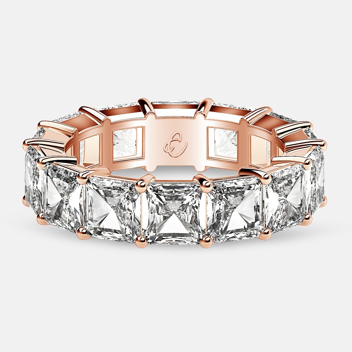 Eternity Ring with Prong Set Radiant Cut Diamonds in 18k Rose Gold