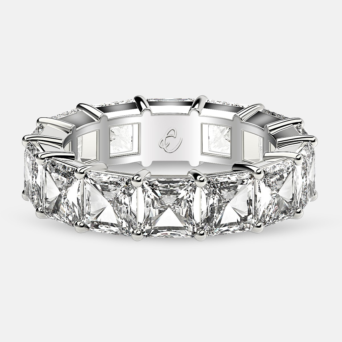 Eternity Ring with Prong Set Radiant Cut Diamonds in 18k White Gold