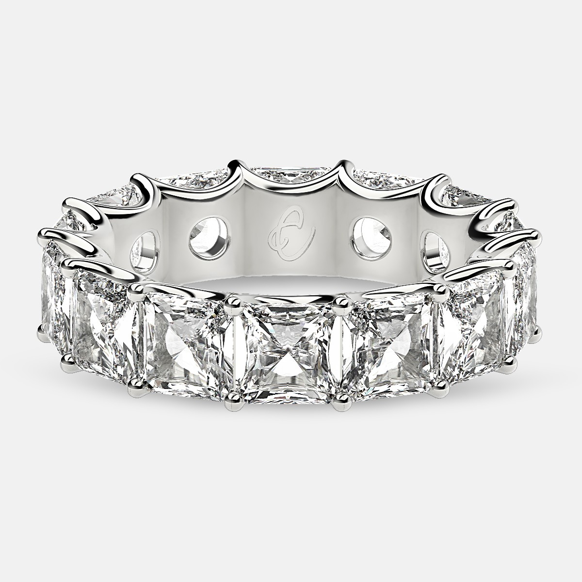 Curved Prong Eternity Ring with Radiant Diamonds in Platinum
