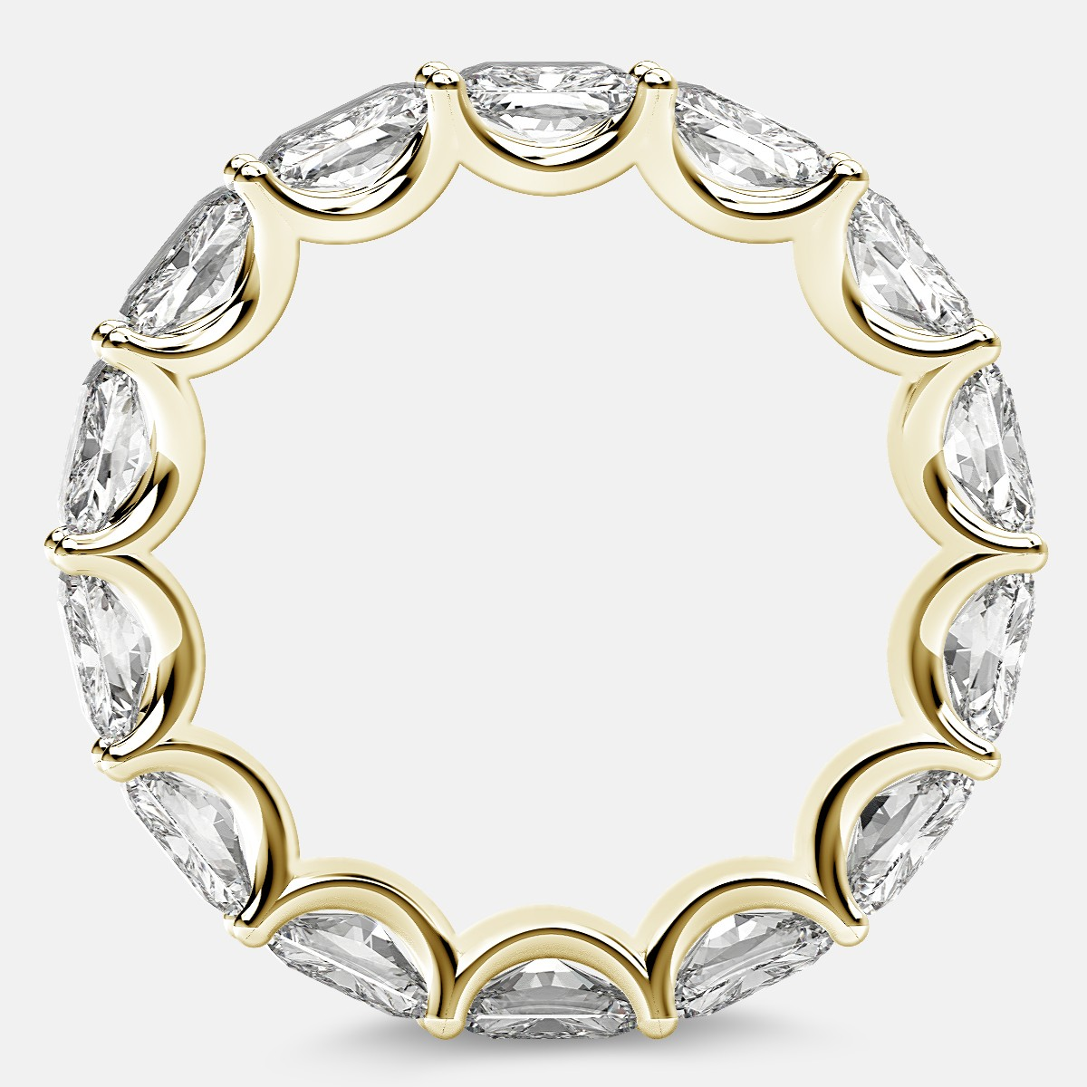 Curved Prong Eternity Ring with Radiant Diamonds in 18k Yellow Gold