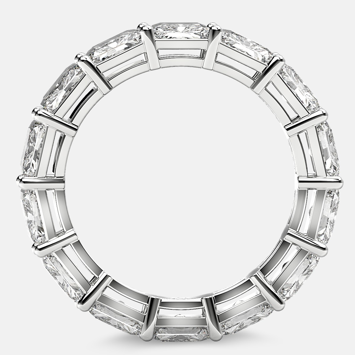 Open Gallery Eternity Ring with Radiant Diamonds in Platinum