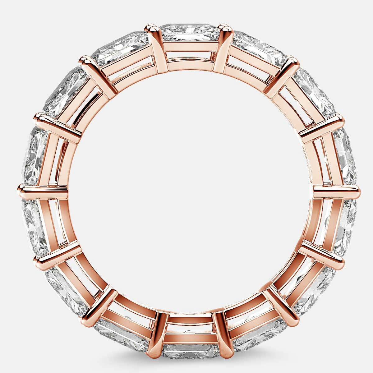 Open Gallery Eternity Ring with Radiant Diamonds in 18k Rose Gold