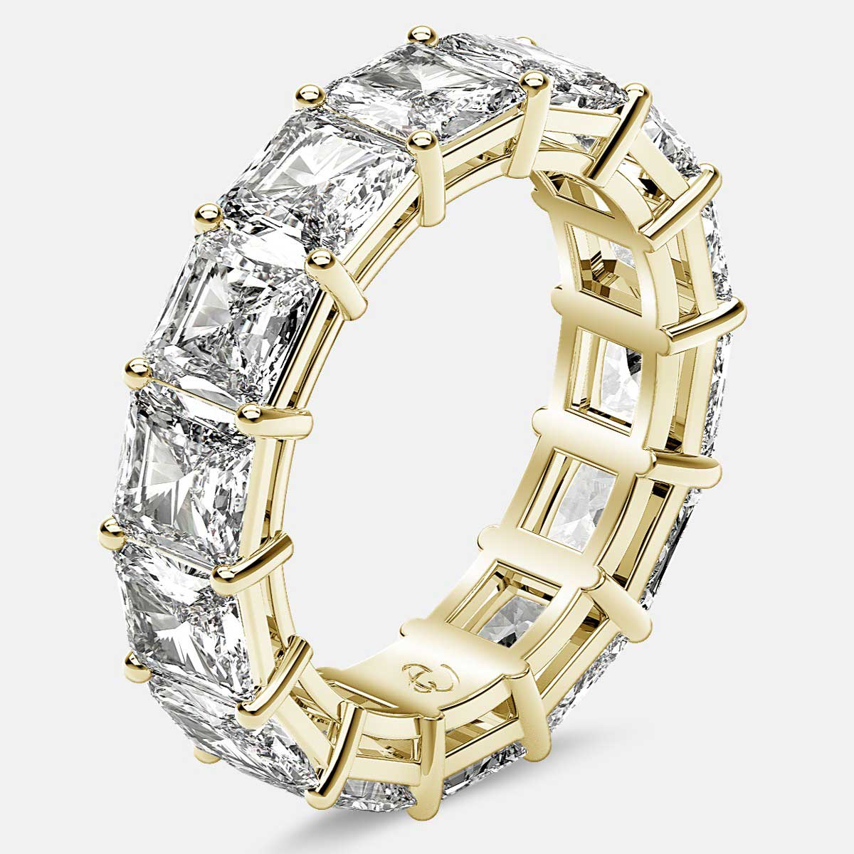 Open Gallery Eternity Ring with Radiant Diamonds in 18k Yellow Gold
