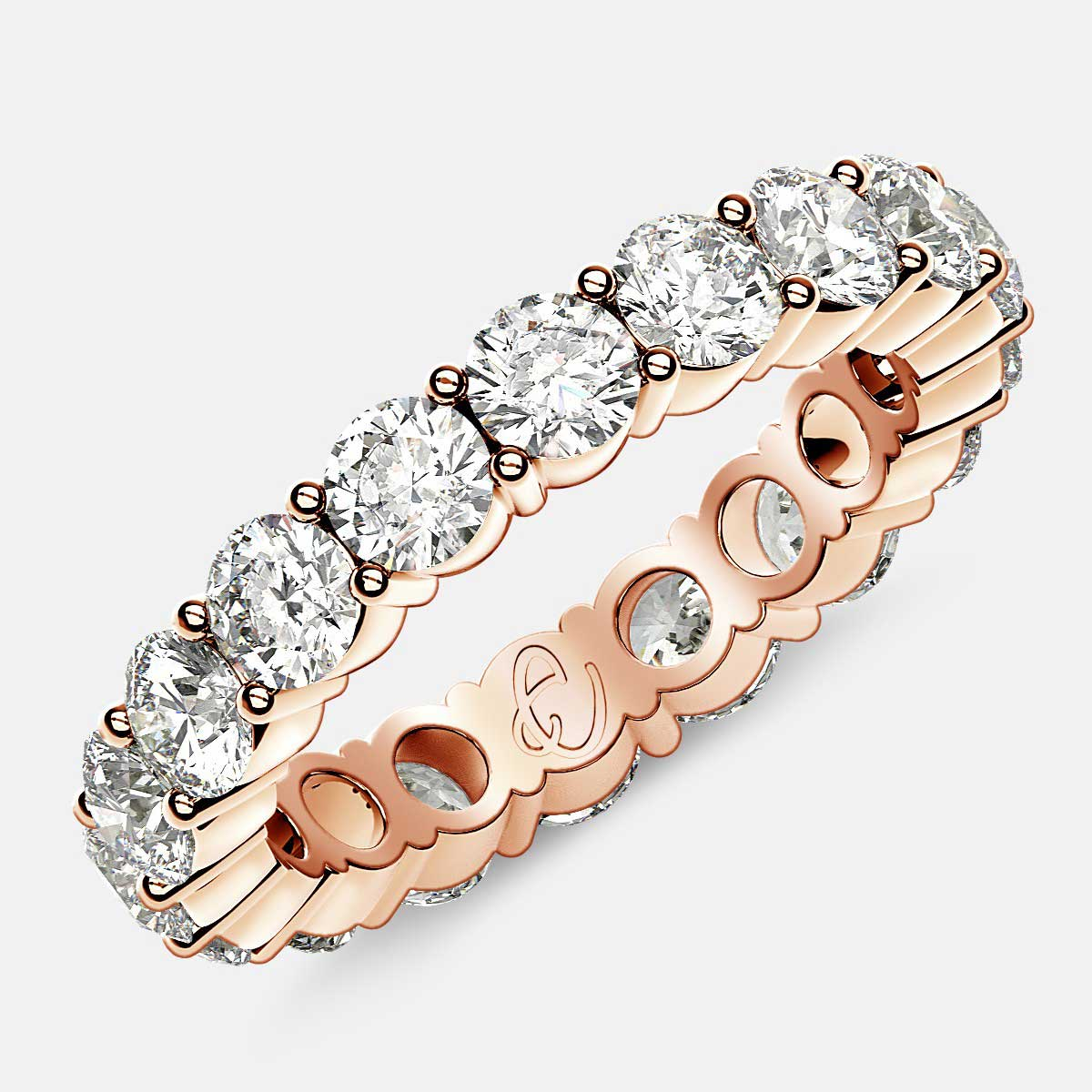 Eternity Ring with Prong Set Round Diamonds in 18k Rose Gold