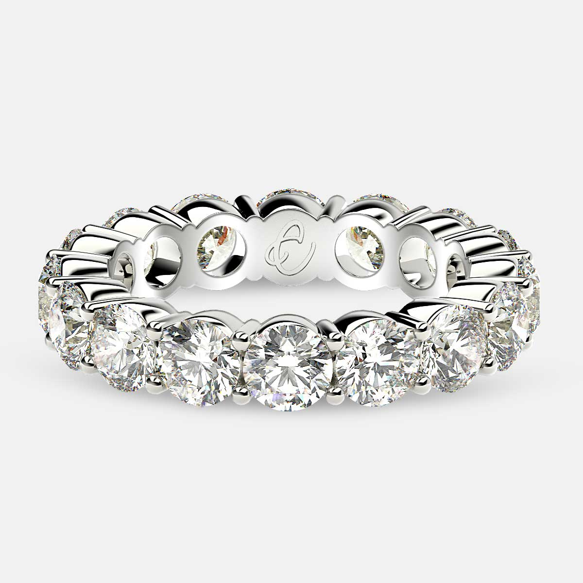Eternity Ring with Prong Set Round Diamonds in 18k White Gold