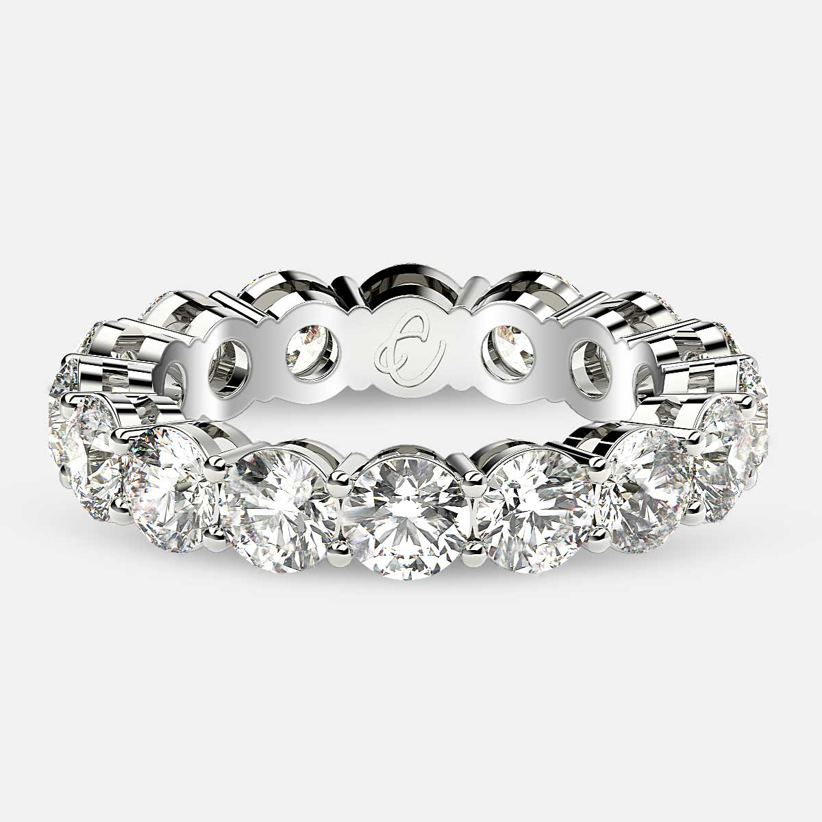 Open Gallery Eternity Ring with Round Diamonds in 18k White Gold