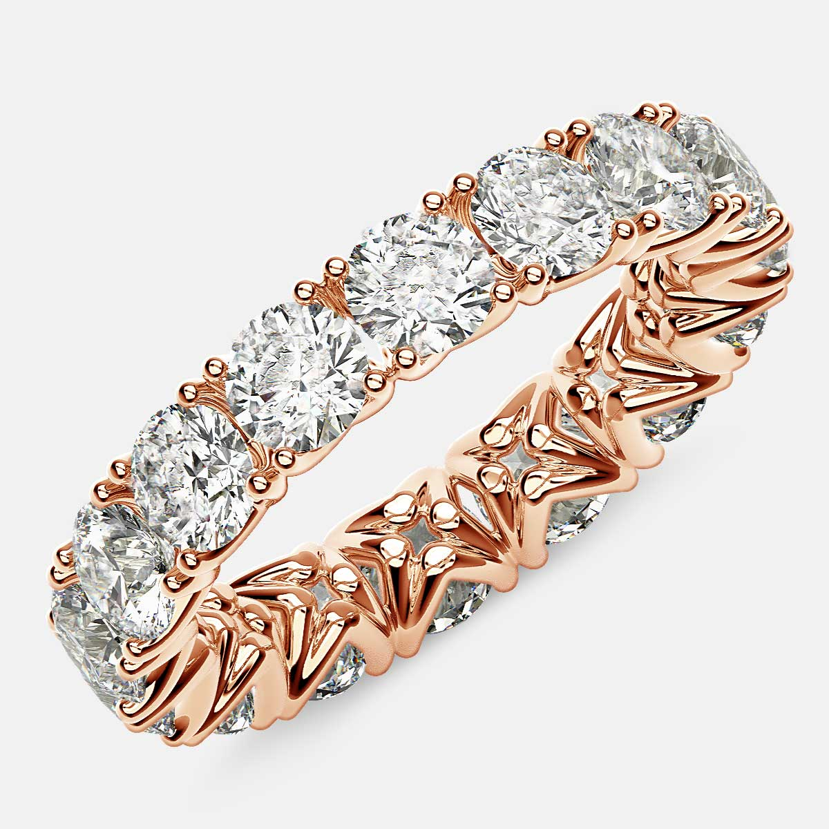 Curved V-Prong Eternity Ring with Round Diamonds in 18k Rose Gold