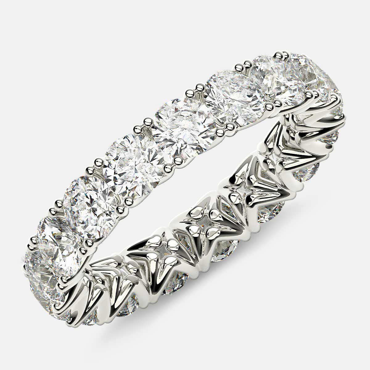 Curved V-Prong Eternity Ring with Round Diamonds in 18k White Gold