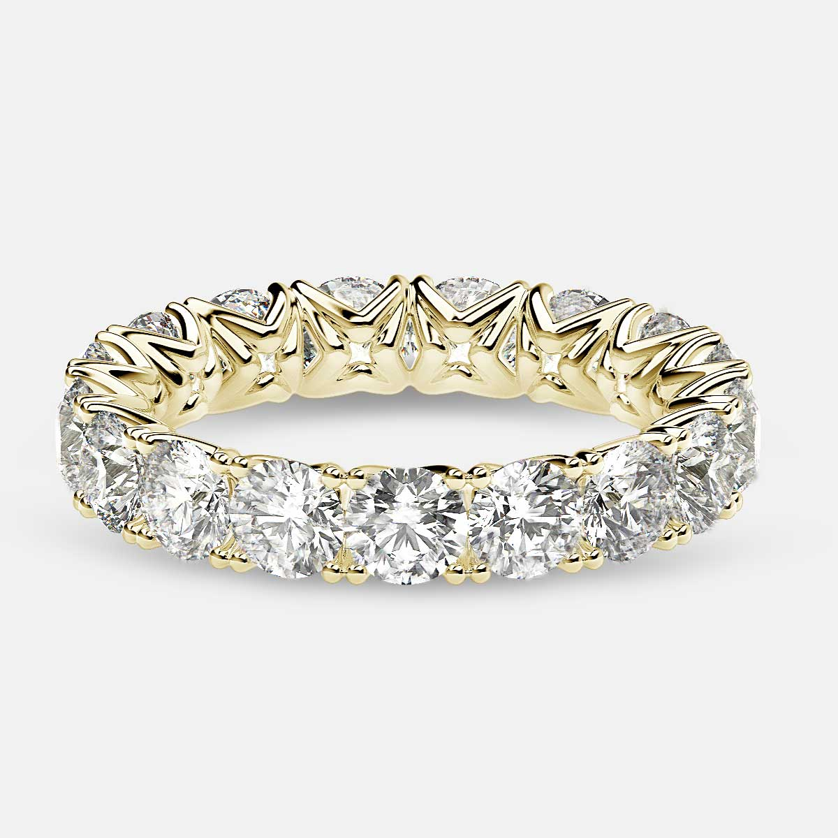 Curved V-Prong Eternity Ring with Round Diamonds in 18k Yellow Gold