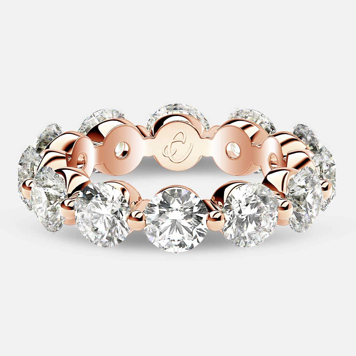 Floating Eternity Ring with Round Diamonds in 18k Rose Gold