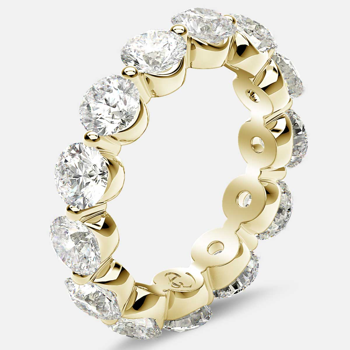 Floating Eternity Ring with Round Diamonds in 18k Yellow Gold