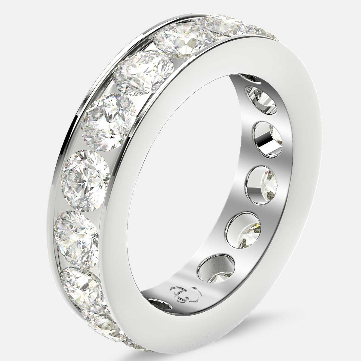 Channel Set Eternity Ring with Round Diamonds in Platinum